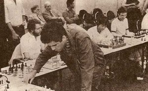 Me (white shirt + beard) playing Kasparov in a simultan in Hamburg 1985
